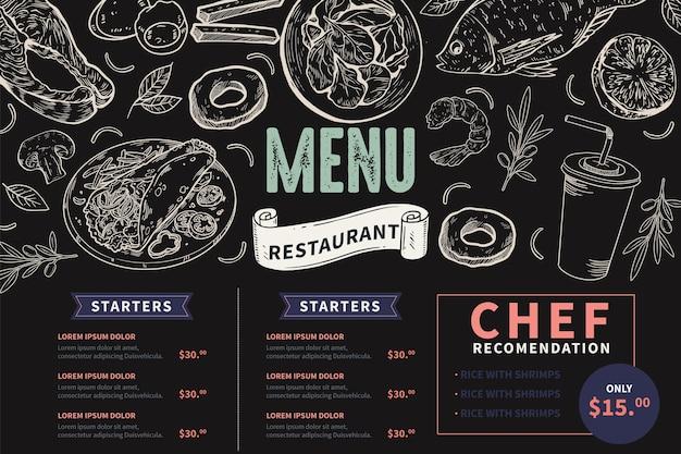 Menu de lousa desenhado à mão para restaurante