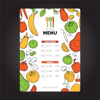 Menu de modelo de capa de restaurante vegano