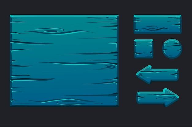 Menu de modelo de madeira azul da interface gráfica do usuário