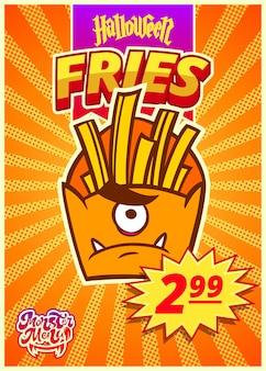 Menu de monstro com batatas fritas. um banner vertical com uma etiqueta de preço para um café de fast food no dia de halloween. ilustração vetorial.