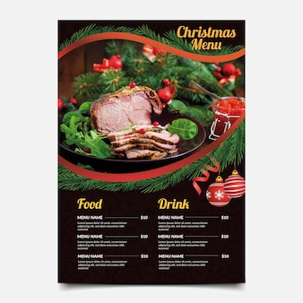 Menu de natal com modelo de seleção de comida