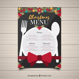 Menu de Natal com prato e talheres