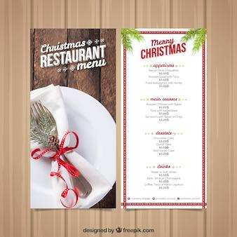 Menu de Natal do restaurante