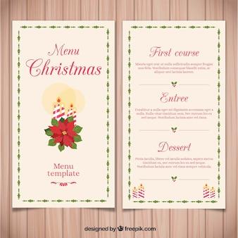 Menu de natal vintage com flor de páscoa