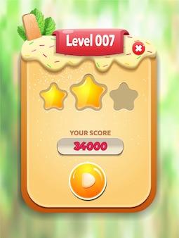 Menu de nível completo pop-up com pontuação de estrelas e botões