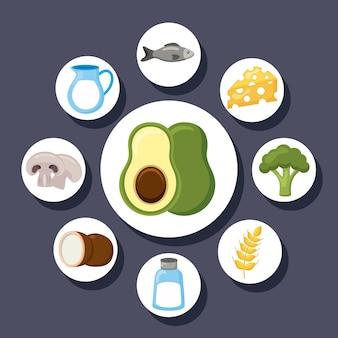 Menu de nove ingredientes da dieta de minerais