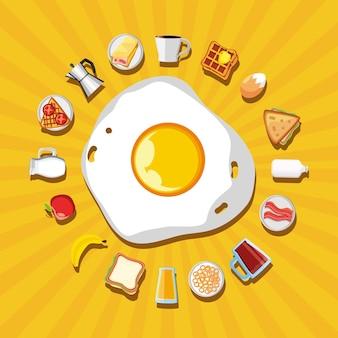 Menu de ovos e produtos no café da manhã