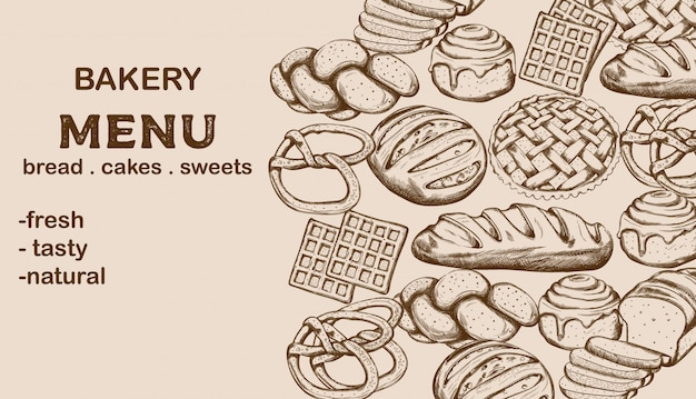Menu de padaria com pão, bolos, doces e lugar para texto