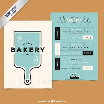 Menu de padaria com uma placa de corte