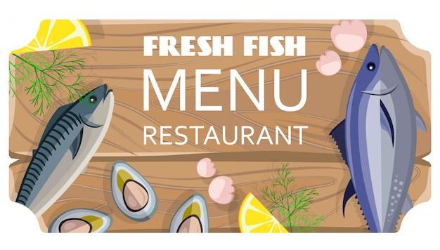 Menu de peixe fresco restaurante com produtos do mar na tábua de madeira de corte
