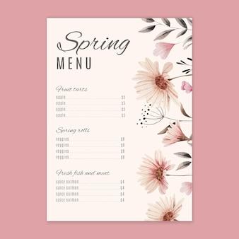 Menu de primavera em aquarela com flores