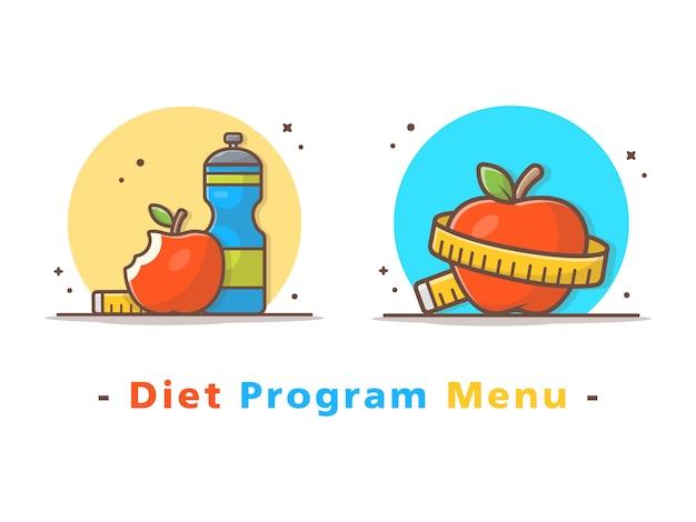 Menu de programa de dieta com frutas de maçã, garrafa de água e fita