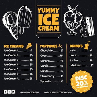 Menu de quadro de sorvete
