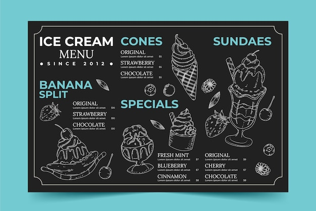 Menu de quadro negro de sorvete desenhado à mão