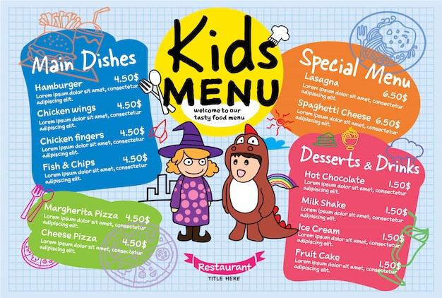 Menu de refeição de crianças colorido para restaurante