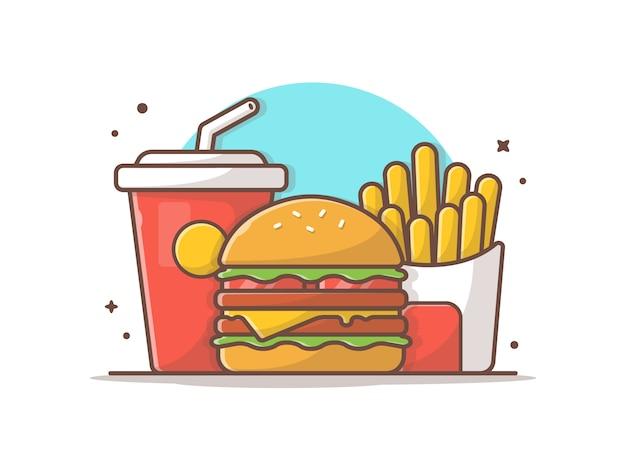 Menu de refeição infantil saborosa burger burger de queijo com batatas fritas e refrigerante