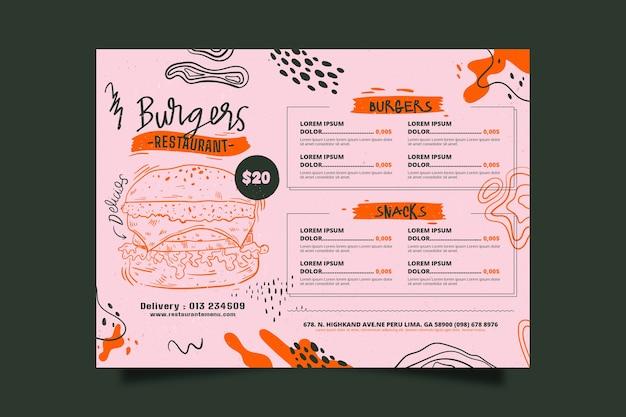 Menu de restaurante abstrato e hambúrguer