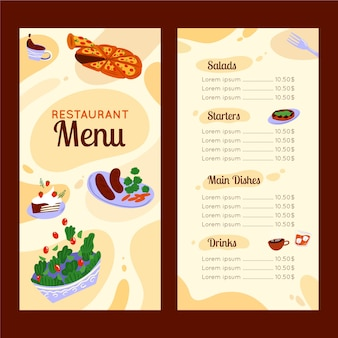 Menu de restaurante colorido abstrato