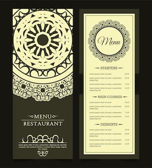 Menu de restaurante com elegante estilo ornamental