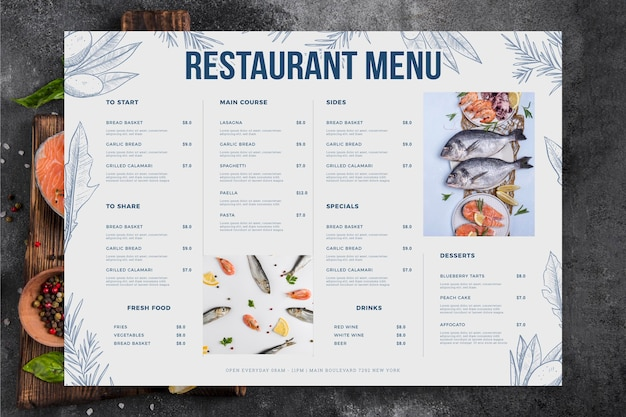 Menu de restaurante com frutos do mar