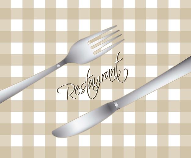 Menu de restaurante com garfo e faca ilustração vetorial