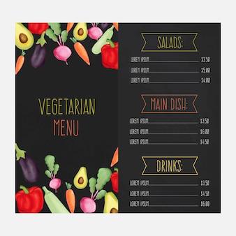 Menu de restaurante com legumes em aquarela
