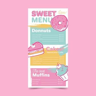 Menu de restaurante com modelo de donuts