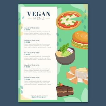 Menu de restaurante com opções veganas