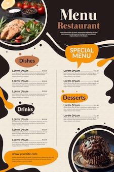 Menu de restaurante criativo para uso digital com foto
