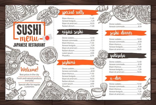 Menu de restaurante de comida japonesa e sushi