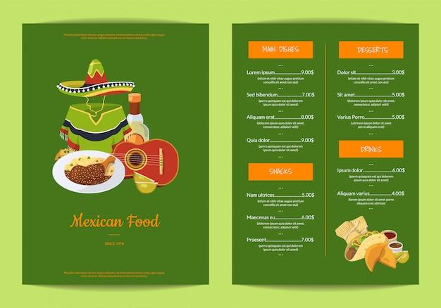 Menu de restaurante de comida mexicana dos desenhos animados