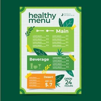 Menu de restaurante de comida saudável com elementos da natureza