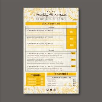Menu de restaurante de comida saudável com linhas douradas