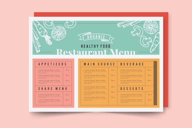 Menu de restaurante de comida saudável de design variado