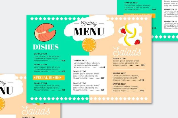 Menu de restaurante de comida saudável