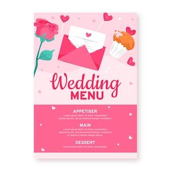 Menu de restaurante de convite de casamento