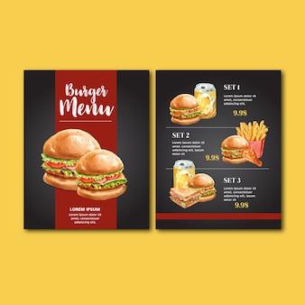 Menu de restaurante de fast food. comida de aperitivo de lista de menu de borda de quadro