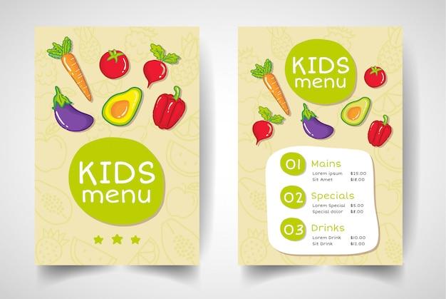 Menu de restaurante de fruta infantil de estilo moderno.