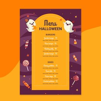 Menu de restaurante de halloween