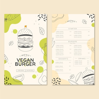 Menu de restaurante de hambúrguer vegano orgânico