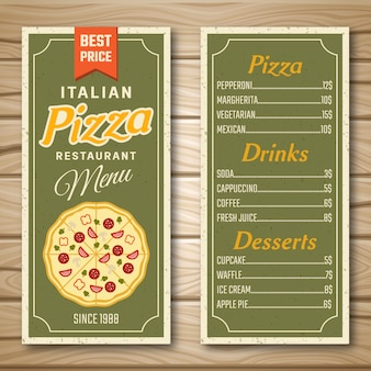Menu de restaurante de pizza italiana