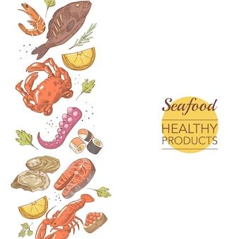 Menu de restaurante de produtos saudáveis de frutos do mar