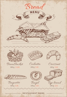 Menu de restaurante desenhado à mão de pão