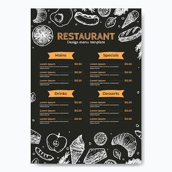 Menu de restaurante desenhado à mão no quadro-negro