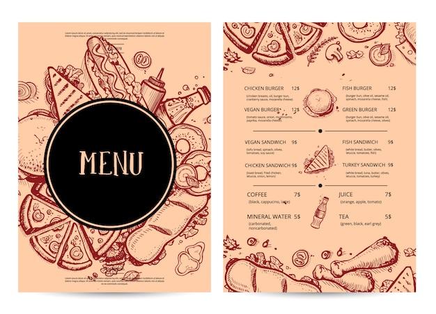 Menu de restaurante desenhado à mão