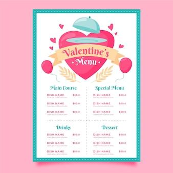 Menu de restaurante desenhado para o dia dos namorados