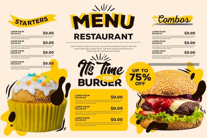 Menu de restaurante digital com desconto