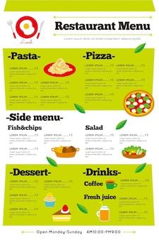 Menu de restaurante digital ilustrado em formato vertical
