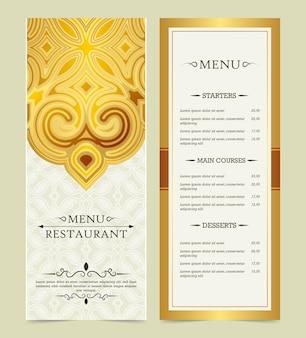 Menu de restaurante dourado com elegante estilo ornamental
