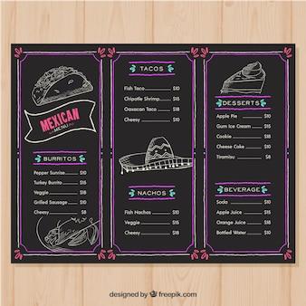Menu de restaurante em estilo de quadro-negro